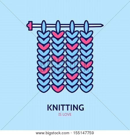 Knitting is love. Modern vector line icon of knitting. Elements - yarn knitting needle. Outline symbol for knitting shops clubs. Cute design element for sites. Hand made business logo.