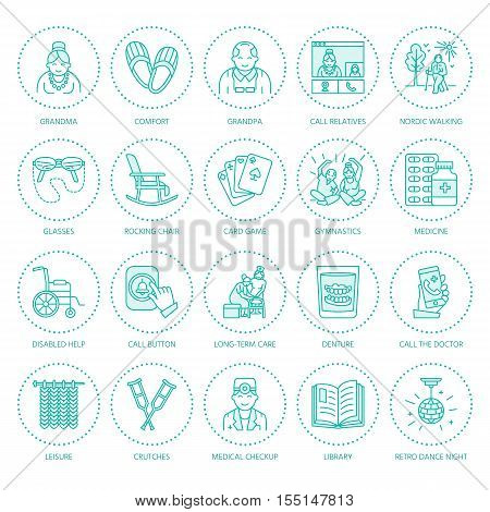 Modern vector line icon of senior and elderly care. Nursing home elements - old people wheelchair leisure hospital call button activity doctor. Linear pictogram for sites brochure clinic