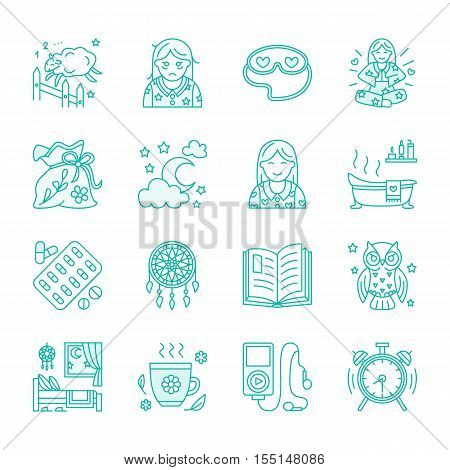 Modern vector line icon of insomnia problem and healthy sleep. Elements - clock pillow pills dream catcher counting sheep. Linear pictogram for sites brochures about sleepless insomnia