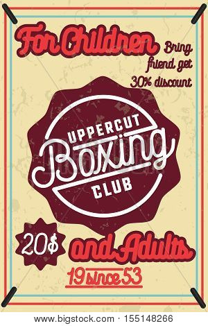 Color vintage Boxing poster. Boxing club design. Boxing fight theme