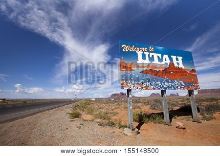 Monument Valley, Utah, USA - August 28 2016: Welcome to Utah Sign on the side of the road in Monument Valley, USA