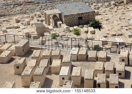 Graves in the ancient jewish cemetery on Mount of Olives in Jerusalem, Israel