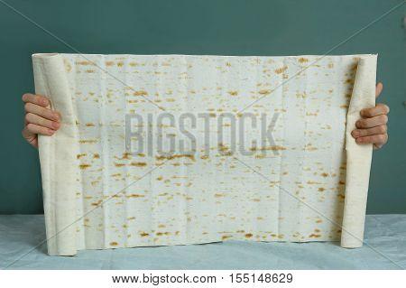 Lavash texture. Thin armenian bread Wheat flatbread greek pita indian chapati or spanish tortilla