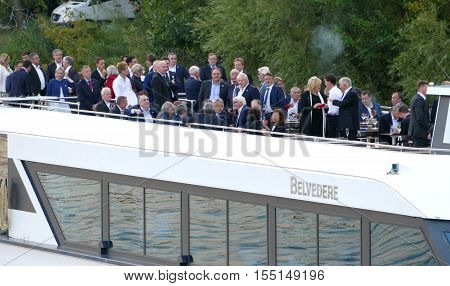 POTSDAM GERMANY. SEPTEMBER 1ST 2016: Ministers of Foreign Affairs at boat during the Informal OSCE Foreign Minister's Meeting held in Potsdam Germany
