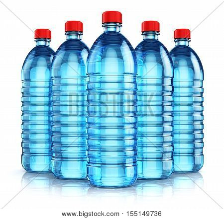 3D render illustration of the group of five blue plastic bottles with clear purified drink carbonated water isolated on white background with reflection effect