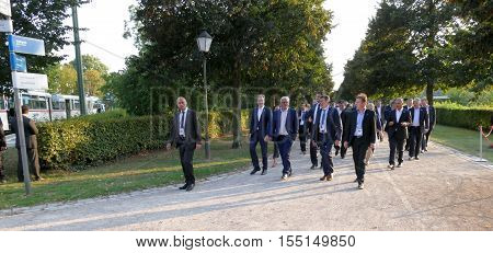 POTSDAM GERMANY. SEPTEMBER 1ST 2016: Foreign Ministers walking in the park during the Informal OSCE Foreign Minister's Meeting held in Potsdam Germany
