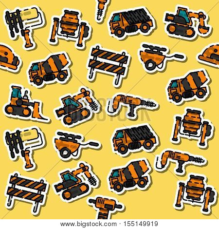 Colored construction machinery pattern. Tall crane lifts the concrete slab or releases. Heavy machine concrete mixer, loader and crawler crane. Vector illustration
