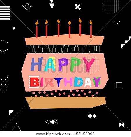 Happy birthday colorful greeting card in trendy memphis design. Vector illustration