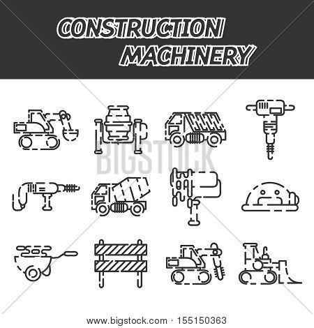 Construction machinery set design isolated on white background. Tall crane lifts the concrete slab or releases. Heavy machine concrete mixer, loader and crawler crane. Vector illustration