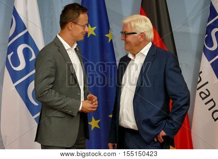 POTSDAM GERMANY. SEPTEMBER 1ST 2016: Federal Foreign Minister Dr Frank-Walter Steinmeier welcomes Peter Szijjarto Minister of Foreign Affairs and Trade of Hungary to the Informal OSCE Foreign Minister's Meeting held in Potsdam Germany