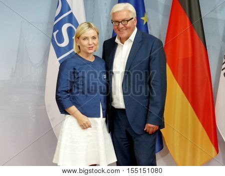 POTSDAM GERMANY. SEPTEMBER 1ST 2016: Federal Foreign Minister Dr Frank-Walter Steinmeier welcomes Lilja Dogg Alfredsdottir Minister for Foreign Affairs and External Trade of the Republic of Iceland to the Informal OSCE Foreign Minister's Meeting held in P