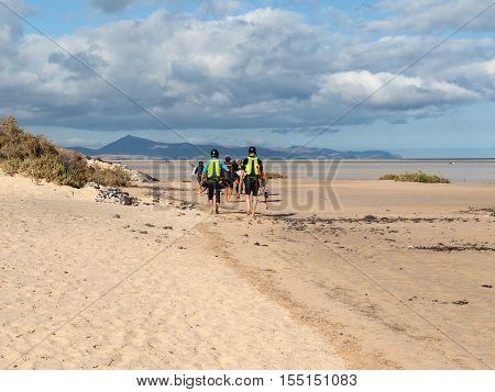 Kitesurfers on Beach Playa de Sotavento Canary Island Fuerteventura Spain