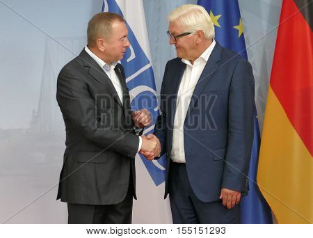 POTSDAM GERMANY. SEPTEMBER 1ST 2016: Federal Foreign Minister Dr Frank-Walter Steinmeier welcomes Vladimir Makei Minister of Foreign Affairs of Republic of Belarus to the Informal OSCE Foreign Minister's Meeting held in Potsdam Germany