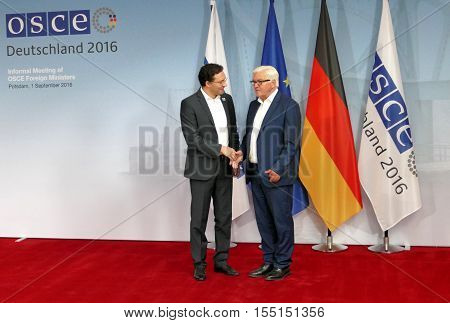 POTSDAM GERMANY. SEPTEMBER 1ST 2016: Federal Foreign Minister Dr Frank-Walter Steinmeier welcomes Daniel Mitov Minister of Foreign Affairs of the Republic of Bulgaria to the Informal OSCE Foreign Minister's Meeting held in Potsdam Germany