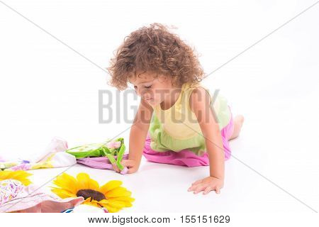 Sweet Female Child On The Flor
