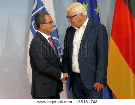 POTSDAM GERMANY. SEPTEMBER 1ST 2016: Federal Foreign Minister Dr Frank-Walter Steinmeier welcomes Ahmet Yildiz Deputy Foreign Minister of the Republic of Turkey to the Informal OSCE Foreign Minister's Meeting held in Potsdam Germany