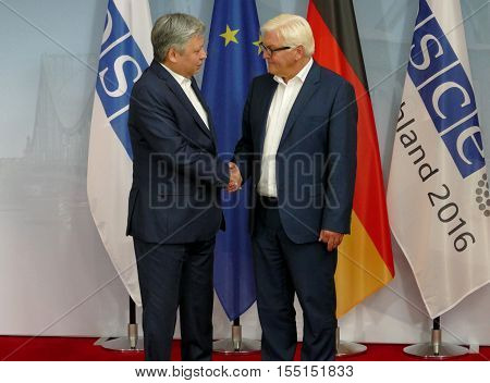 POTSDAM GERMANY. SEPTEMBER 1ST 2016: Federal Foreign Minister Dr Frank-Walter Steinmeier welcomes Erlan Abdyldaev Minister of Foreign Affairs of the Kyrgyz Republic to the Informal OSCE Foreign Minister's Meeting held in Potsdam Germany