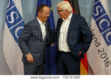 POTSDAM GERMANY. SEPTEMBER 1ST 2016: Federal Foreign Minister Dr Frank-Walter Steinmeier welcomes Ditmir Bushati Minister of Foreign Affairs of Republic of Albania to the Informal OSCE Foreign Minister's Meeting held in Potsdam Germany
