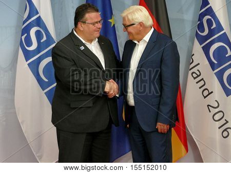 POTSDAM GERMANY. SEPTEMBER 1ST 2016: Federal Foreign Minister Dr Frank-Walter Steinmeier welcomes Linas Antanas Linkevicius Minister of Foreign Affairs of Republic of Lithuania to the Informal OSCE Foreign Minister's Meeting held in Potsdam Germany