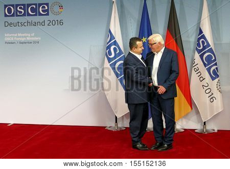 POTSDAM GERMANY. SEPTEMBER 1ST 2016: Federal Foreign Minister Dr Frank-Walter Steinmeier welcomes Ivica Dacic Minister of Foreign Affairs of Republic of Serbia to the Informal OSCE Foreign Minister's Meeting held in Potsdam Germany