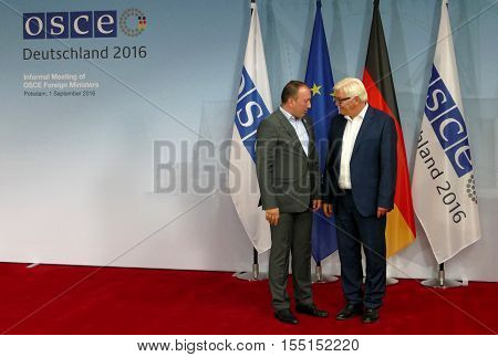POTSDAM GERMANY. SEPTEMBER 1ST 2016: Federal Foreign Minister Dr Frank-Walter Steinmeier welcomes Igor Crnadak Minister of Foreign Affairs of Bosnia and Herzegovina to the Informal OSCE Foreign Minister's Meeting held in Potsdam Germany
