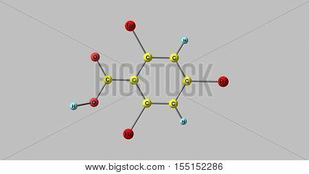 246-Tribromobenzoic acid. 3d horizontal illustration of acid on grey