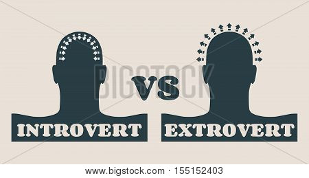 extrovert and introvert metaphor. Image relative to human psychology poster