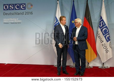 POTSDAM GERMANY. SEPTEMBER 1ST 2016: Federal Foreign Minister Dr Frank-Walter Steinmeier welcomes Borge Brende Minister of Foreing Affairs of Kingdom of Norway to the Informal OSCE Foreign Minister's Meeting held in Potsdam Germany