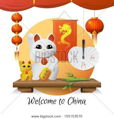 Welcome to china traditional souvenirs and symbols with lucky cat lanterns and bamboo on white background flat vector illustration