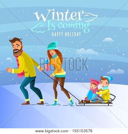 Happy family spending winter heason holidays outside and tobogganing with kids cartoon vector illustration