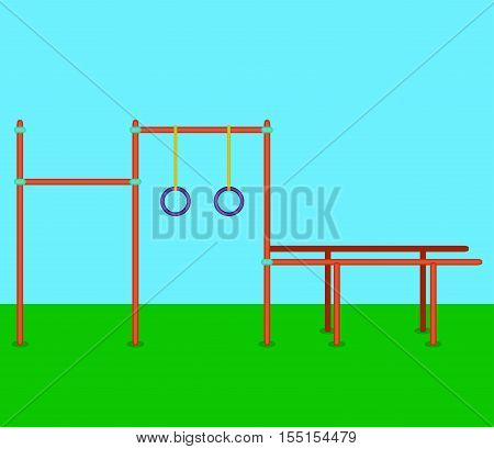 Sports horizontal bars parallel bars rings. Playground for street workout. Vector illustration