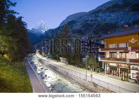 ZERMATT, SWITZERLAND - Sep 12: Early morning view of Zermatt in Switzerland on Sep 12, 2016. Zermatt is a municipality in Switzerland which famed as a mountaineering and ski resort of the Swiss Alps.
