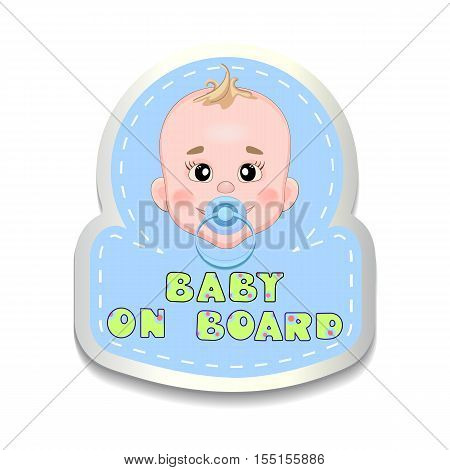 Car decal with baby face. Baby on board sticker
