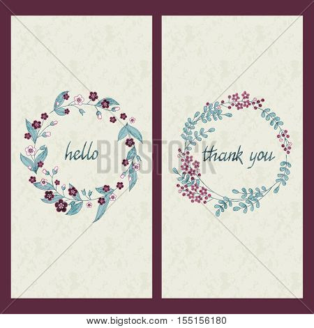 vector set of two cards with hand drawn words hallo and thank you in circle flower frames