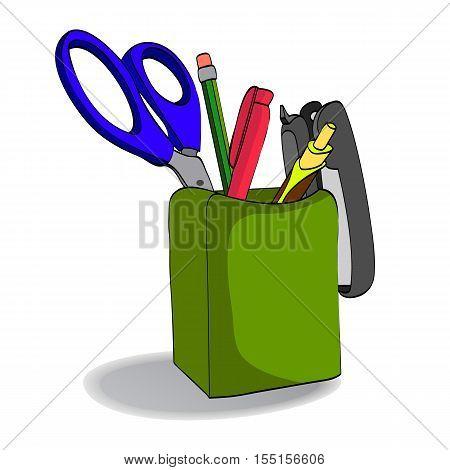 Organizer with pencils scissors pen stapler. Holder.