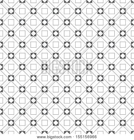 Seamless pattern. Classic abstract geometric background. Modern linear texture with thin lines. Regularly repeating geometrical tiled grid with rhombus diamond outline squares. Vector design
