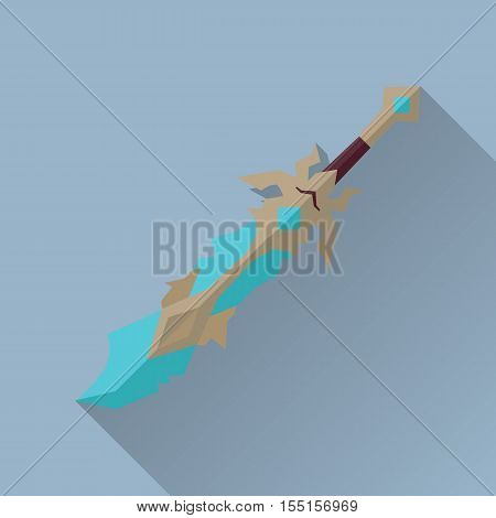 Cartoon game sword with shadow. One-handed medieval knife. Weapon symbol icon. War concept. For computer games, mobile appliances. Part of series of game objects in flat design. Vector illustration.