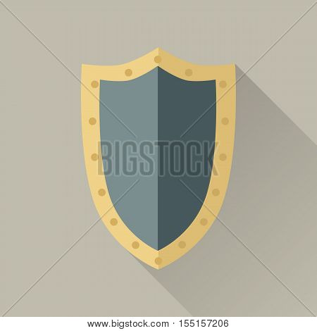 Warrior big shield. Blue shield with gold trim around the edge. Warrior armor. Game object in flat design isolated. Vector illustration.