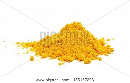 Yellow Turmeric powder on a white background.