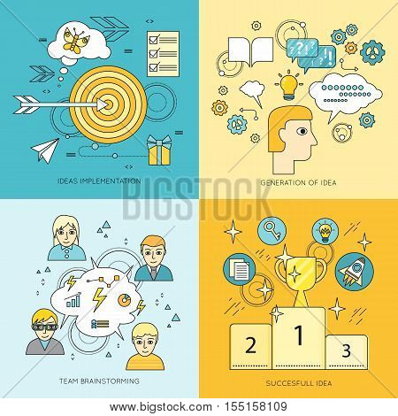 Set of idea concept vectors. Flat style. Ideas implementation, generation of idea, team brainstorming, successful idea illustrations for business, science, education companies ad, web page design.