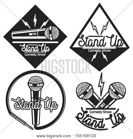 Set of vector stand up comedy logos and badges at white brick background. Modern and retro microphones. Hipster style labels and banners for print and web design.