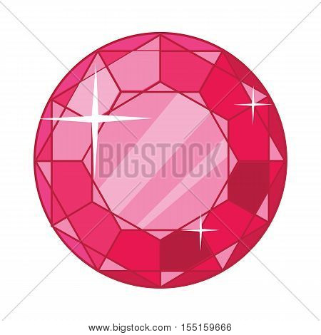 Beautiful red ruby icon. Bright shiny round ruby gemstone in flat. Diamond shape. Ruby red garnet jewel crystal with sparkles. Isolated vector illustration on white background.