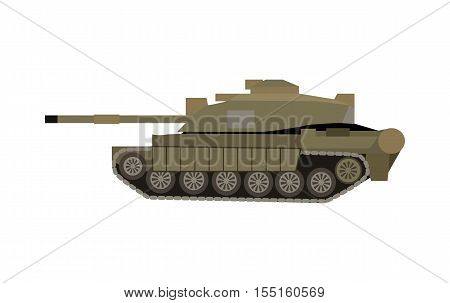 Military tank isolated on white. Armoured fighting vehicle designed for front-line combat, with heavy firepower, strong armour, tracks providing good battlefield manoeuvrability. Vector in flat style