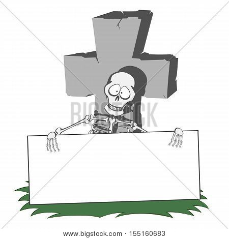 A gray cross-shaped gravestone with grass - funny skeleton holds a bulletin board