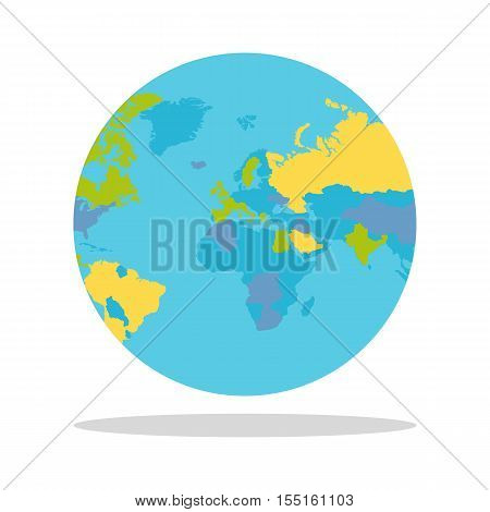 Planet Earth vector illustration. World Globe with political map. Countries silhouettes on the planet surface. Global world concept. Europe, Eurasia, Greenland, India, Africa, Middle East on white.