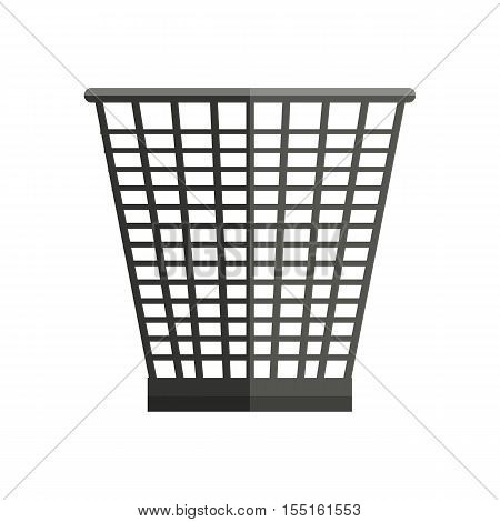 Trash basket vector in flat style. Plastic or metal container for waste, papers, and rubbish. Container for garbage for household, environmental concepts. Isolated on white background