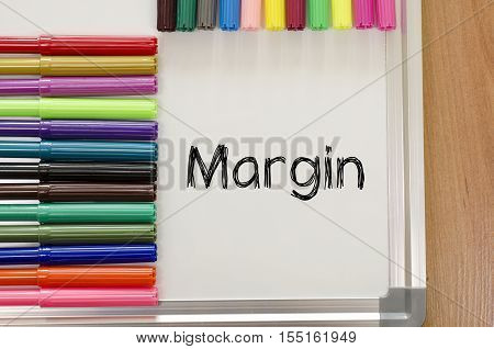 Margin text concept over whiteboard background .