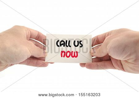 Call us now text concept isolated over white background