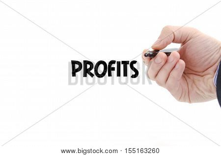 Profits text concept isolated over white background