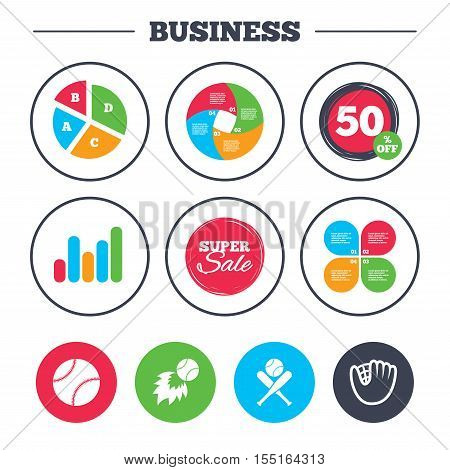Business pie chart. Growth graph. Baseball sport icons. Ball with glove and two crosswise bats signs. Fireball symbol. Super sale and discount buttons. Vector